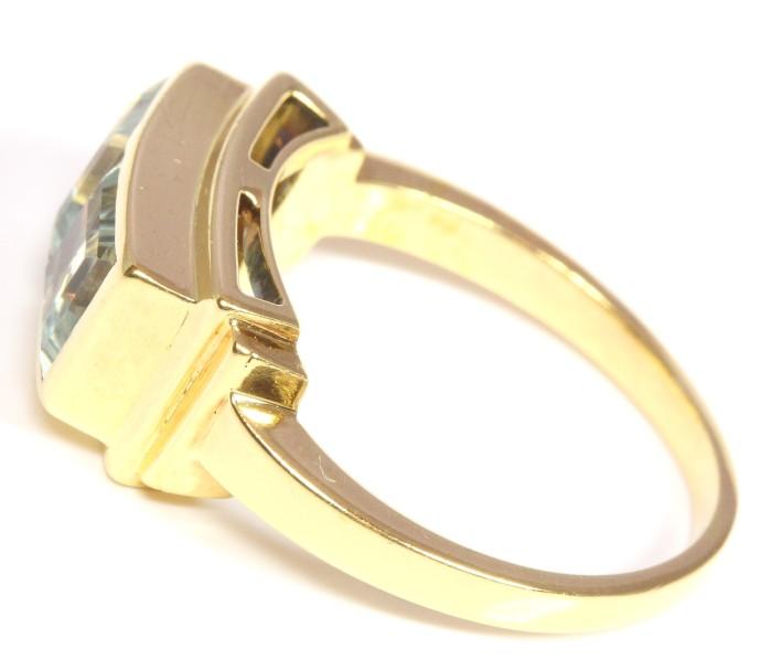 14kt 585 Damen Goldring Aquamarinring Aquamarin Gold Ring Gelbgold